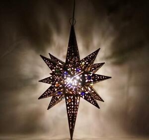 "Moravian LONG Star Pierced Metal Glass Pendant Light Lamp Hanging w/marbels 15"""