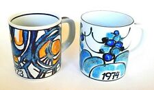PAIR OF  LTD. ED. 1973 & 74 ROYAL COPENHAGEN ANNUAL FAIENCE  MUGS - DENMARK