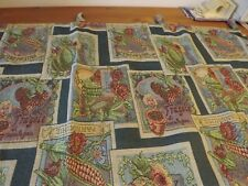 """Tapestry Tab Top Curtain Panel Italian Seed Packet Pattern 50Wx39"""""""