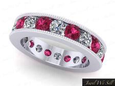 Band Ring Platinum Aaa G Si1 3.40Ct Sapphire Diamond Channel Milgrain Eternity