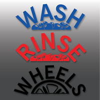 Car Valeting Wash, Rinse & Wheels Arch Effect Vinyl Bucket Stickers | Detailing