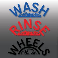Car Valeting Wash, Rinse & Wheels Arch Effect Vinyl Bucket Stickers   Detailing