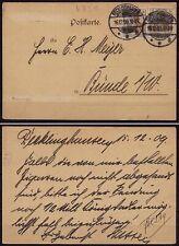 Recklinghausen nach Bünde Karte 1909 2 mal 3 Pfg. Deutsches Reich Germania(10190