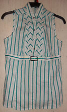 EXCELLENT WOMENS EXPRESS PROVINCIAL TEAL PINSTRIPE SLEEVELESS BLOUSE  SIZE M