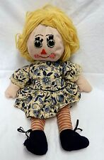Vintage Collectible Handmade Blonde Hair White Blue Floral Dress Girl Doll Used