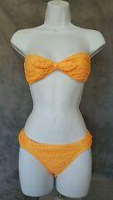 Victoria's Secret Women's Size S Set Bandeau Top Crochet Orange Bottoms Sexy EUC
