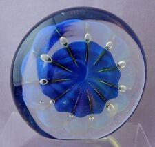 Eickholt 2000? Art Glass Disc Paperweight Control Bubble Opalascent & Iridescent