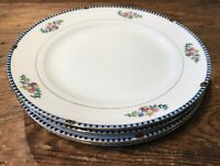NORITAKE SHERIDAN VTG #69533 LOT OF 4 LUNCHEON PLATES 8.5 JAPAN BLK BLU EUC