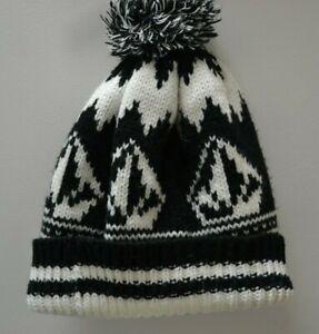 Mens Volcom Black and White Knit Bobble Hat