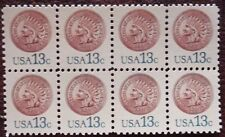 USPS 13-cent Indian Head Penny~Block of 8 stamps~Unused~MNH~issued 1978