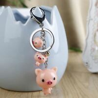 Cute Three Little Pig Pendant Keyring Resin Pink Pig Key Holder Key Chain .