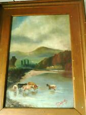 belle huile ancienne sur toile  paysage  animaux fin XIX° signé