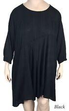 NWT Kleen Clothing Artsy A-Line, Bias Cut Black COTTON Tunic Dress 3x