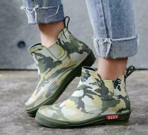 Men Camouflage Rain Boots Waterproof Non-slip Water Garden Shoes Ankle Boots tao