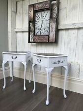 Queen Anne chalk paint  refurbished bedside tables with raised flourish stencil