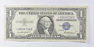 Crisp AU/Unc 1957 Star ERROR Replacement Note - Silver Certificate $1 *893