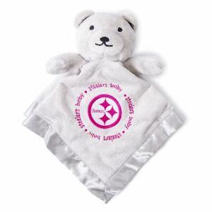 Pittsburgh Steelers Baby Security Bear Blanket Pink Gray, NFL Licensed, 14X14