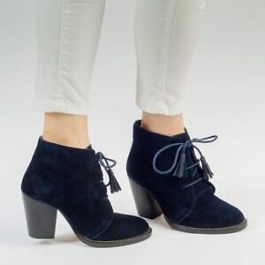 Womens Heeled Navy Blue Leather Suede Ankle Chelsea Chukka Block Heel Lace Boot