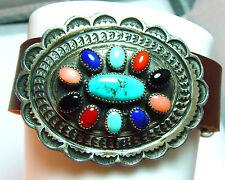 Sterling silver & large multi gem concho bracelet, adjustable leather strap