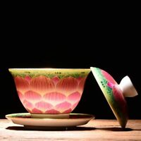 Zen style porcelain cup bowl with saucer lid handpainted lotus blossom tureen