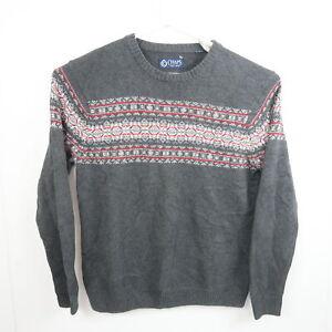 Ralph Lauren Chaps Mens Knit Sweater Size M Grey Aztec Pattern Crew Neck Jumper