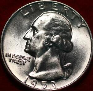 Uncirculated 1953-D Denver Mint Silver Washington Quarter