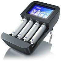 Aplic Power Akku Ladegerät NiMH Akku Ladestation 4 Bay Battery Charger LCD