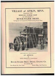 """1929 BUSCH-SULZER DIESEL PLANT IN AITKIN MINNESOTA 8 1/2"""" X 11"""" 4 PAGE BROCHURE"""