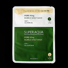Missha - Super Aqua Pore-Kling Bubble Sheet Mask Facial 2 Step Pore Total Care