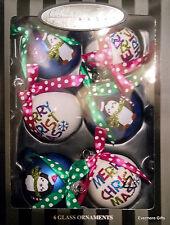 """Radko Merry Christmas Penguins Set 6 Blue & White 2.5"""" Balls Polka Dot Ribbons"""