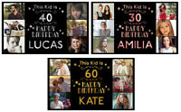 personalised birthday banner Photo Silver Gold Rose Gold party wedding poster