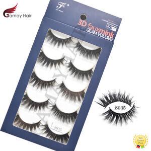 3D Faux Mink Lashes Natural Eye Makeup Long Thick False Black Eyelashes 5 Pairs