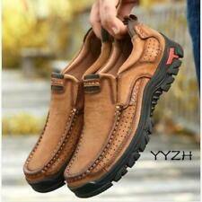 Winter Men's Casual Leather Workwear Handmade Outdoor Loafers Slip-on Work Shoes