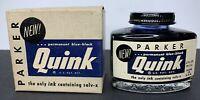Vintage PARKER Quink permanent blue-black ink NOS Unused in Original Box 2 Fl Oz