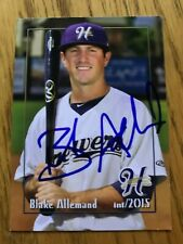 Blake Allemand 2015 Signed Helena Brewers Team Card