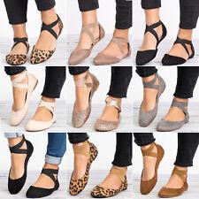 Women Ankle Strap Ballet Flat Criss Cross Low Heel Pumps Ballerina Shoes Size