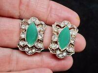 Vintage 1960's Glamour Navette Rhinestone Green & White Rhinestone Clip Earrings