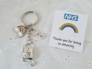 NHS NURSE DOCTOR MASK KEYRING THANK YOU FOR BEING SO AMAZING WITH CARD GIFT BAG