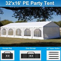 32' x 16' PE Party Tent - Heavy Duty Carport Canopy Wedding  Shelter - White
