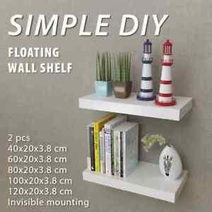vidaXL 2x Floating Wall Display Shelves MDF White Book DVD Storage Multi Sizes