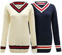 Ladies Womens CRICKET JUMPER Cable Knitted V Neck Long Stretch Pullover Jumper.