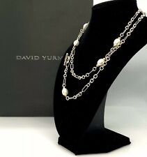 "David Yurman 925 & 18K Gold-Figaro Toggle Necklace with Pearls 36"" DY237"