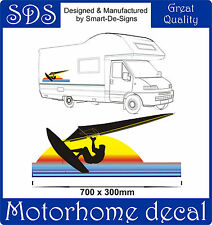 MOTORHOME VINYL GRAPHICS STICKERS DECAL CAMPER VAN RV CARAVAN 70cm x 30cm SURFER