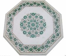 """24"""" Marble Coffee Table Top  Malachite Pietra Dura Floral Inlay Work Home Decor"""