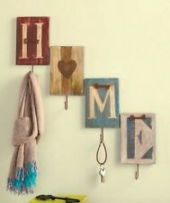 Set of 4 Country Home Wall Hooks Rustic Old Fashioned Wooden Metal Wall Hangers