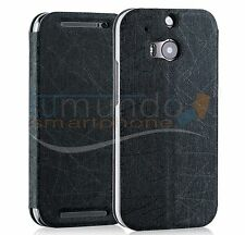 FUNDA SOPORTE de PIEL TEXTURIZADA NEGRA para HTC ONE 2 (M8) case flip libro