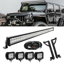 52inch 700W LED Light Bar+4x 18W Pods+ Mount Bracket Fit For Jeep Wrangler JK 50
