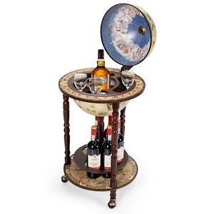 "17"" Wood Globe Wine Bar Stand 16th Century Italian Rack Liquor Bottle Shelf Cart"