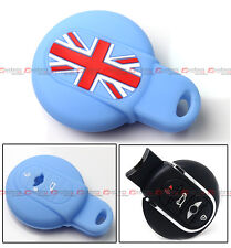 FOR 2015-2017 MINI COOPER KEY FOB BLUE UNION JACK SILICONE PROTECTIVE CASE COVER