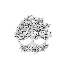 Tree Of Life Charm/Pendant Tibetan Antique Silver 50mm  2 Charms DIY Jewellery